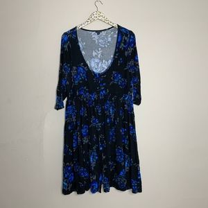 Torrid Blue & Black Floral Dress | Size 00